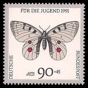 90 + 45 Pf Briefmarke: Für die Jugend 1991, Schmetterlinge