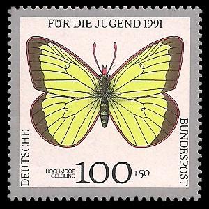 100 + 50 Pf Briefmarke: Für die Jugend 1991, Schmetterlinge