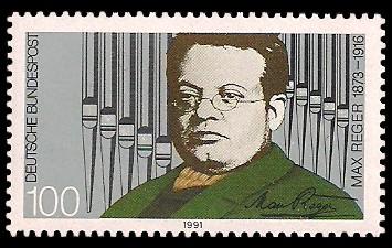 100 Pf Briefmarke: 75. Todestag Max Reger