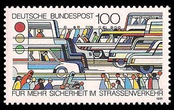 100 Pf Briefmarke: Sicherheit im Straßenverkehr