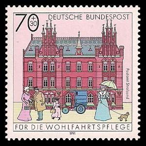 70 + 30 Pf Briefmarke: Wohlfahrtsmarke 1991, alte Postgebäude