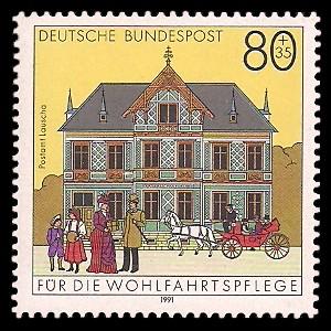 80 + 35 Pf Briefmarke: Wohlfahrtsmarke 1991, alte Postgebäude