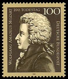 100 Pf Briefmarke: 200. Todestag Wolfgang Amadeus Mozart