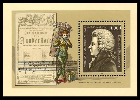 Briefmarke: Block: 200. Todestag Wolfgang Amadeus Mozart