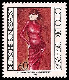 60 Pf Briefmarke: 100. Geburtstag Otto Dix