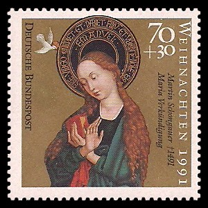 70 + 30 Pf Briefmarke: Weihnachtsmarke 1991, Martin Schongauer