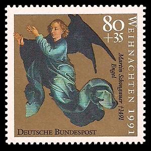80 + 35 Pf Briefmarke: Weihnachtsmarke 1991, Martin Schongauer