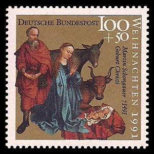 100 + 50 Pf Briefmarke: Weihnachtsmarke 1991, Martin Schongauer
