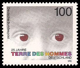 100 Pf Briefmarke: 25 Jahre terre des hommes Deutschland