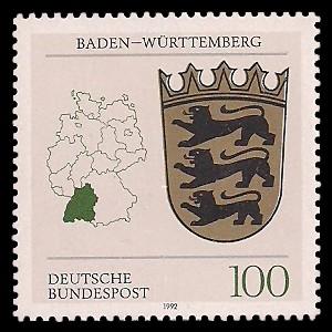 100 Pf Briefmarke: Wappen der Bundesländer, Baden-Württemberg