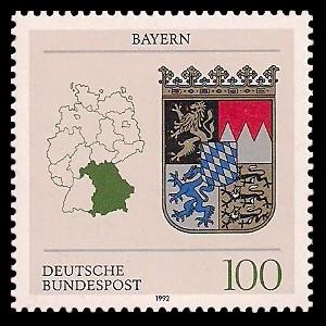 100 Pf Briefmarke: Wappen der Bundesländer, Bayern