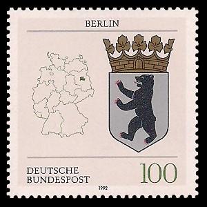 100 Pf Briefmarke: Wappen der Bundesländer, Berlin
