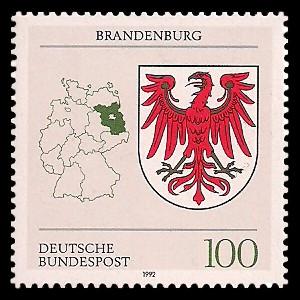100 Pf Briefmarke: Wappen der Bundesländer, Brandenburg