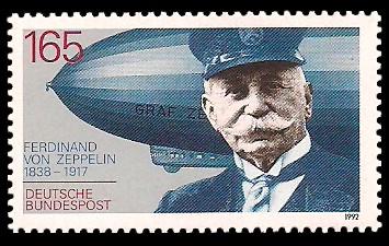 165 Pf Briefmarke: 75. Todestag Ferdinand Graf von Zeppelin