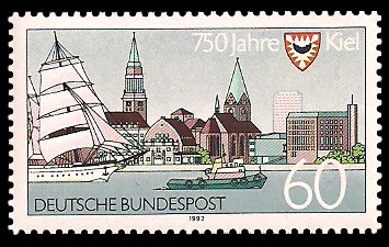 60 Pf Briefmarke: 750 Jahre Kiel