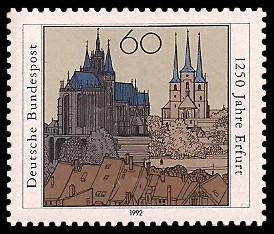 60 Pf Briefmarke: 1250 Jahre Erfurt