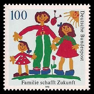 100 Pf Briefmarke: Familie schafft Zukunft