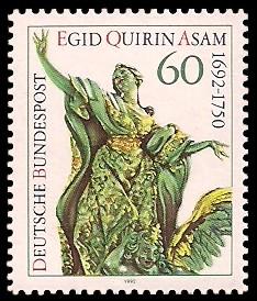 60 Pf Briefmarke: 300. Geburtstag Egid Quirin Asam