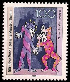 100 Pf Briefmarke: 100 Jahre Bund Deutscher Amateurtheater