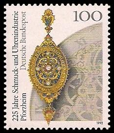 100 Pf Briefmarke: 225 Jahre Schmuck- und Uhrenindustrie Pforzheim