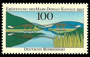 100 Pf Briefmarke: Eröffnung des Main-Donau-Kanals