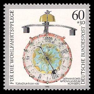 60 + 30 Pf Briefmarke: Wohlfahrtsmarke 1992, alte Uhren