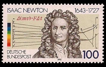 100 Pf Briefmarke: 350. Geburtstag Isaac Newton