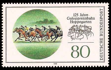 80 Pf Briefmarke: 125 Jahre Galopprennbahn Hoppegarten