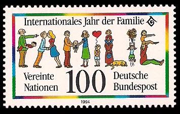 100 Pf Briefmarke: Internationales Jahr der Familie