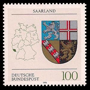 100 Pf Briefmarke: Wappen der Bundesländer, Saarland