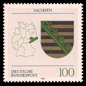 100 Pf Briefmarke: Wappen der Bundesländer, Sachsen