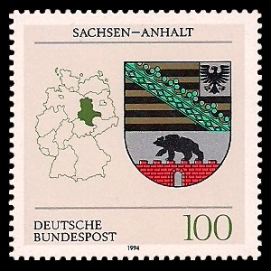 100 Pf Briefmarke: Wappen der Bundesländer, Sachsen-Anhalt