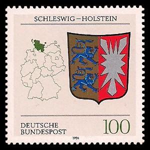 100 Pf Briefmarke: Wappen der Bundesländer, Schleswig-Holstein