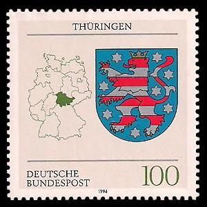 100 Pf Briefmarke: Wappen der Bundesländer, Thüringen