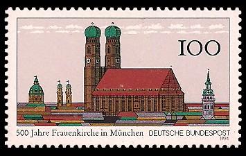 100 Pf Briefmarke: 500 Jahre Frauenkirche in München