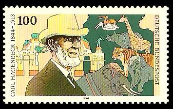 100 Pf Briefmarke: 150. Geburtstag Carl Hagenbeck