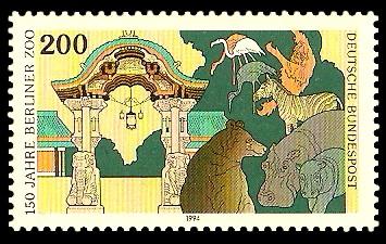 200 Pf Briefmarke: 150 Jahre Berliner Zoo