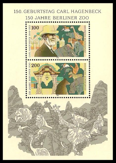 Briefmarke: Blockausgabe: 150. Geburtstag Carl Hagenbeck, 150 Jahre Berliner Zoo