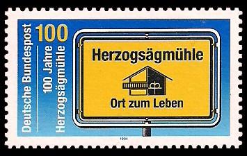 100 Pf Briefmarke: 100 Jahre Herzogsägmühle