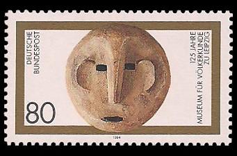 80 Pf Briefmarke: 125 Jahre Museum für Völkerkunde zu Leipzig