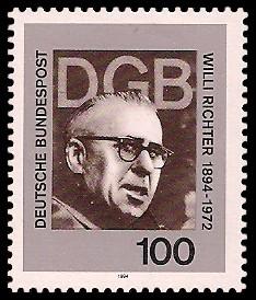 100 Pf Briefmarke: 100. Geburtstag Willi Richter