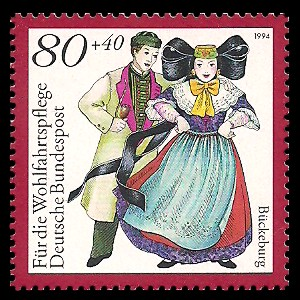 80 + 40 Pf Briefmarke: Wohlfahrtsmarke 1994, regionale Trachten in Deutschland