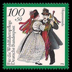100 + 50 Pf Briefmarke: Wohlfahrtsmarke 1994, regionale Trachten in Deutschland