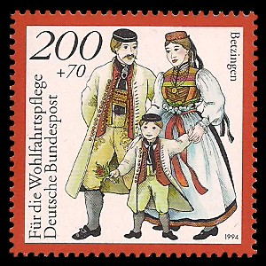 200 + 70 Pf Briefmarke: Wohlfahrtsmarke 1994, regionale Trachten in Deutschland