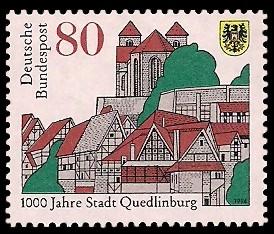 80 Pf Briefmarke: 1000 Jahre Stadt Quedlinburg