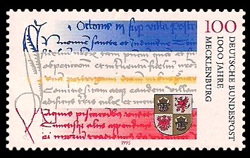 100 Pf Briefmarke: 1000 Jahre Mecklenburg