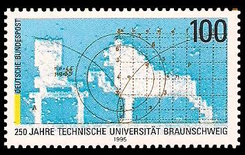 100 Pf Briefmarke: 250 Jahre Technische Universität Braunschweig