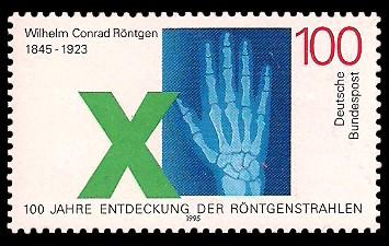 100 Pf Briefmarke: 100. Jahre Entdeckung der Röntgenstrahlen