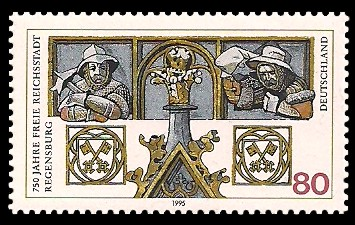 80 Pf Briefmarke: 750 Jahre Freie Reichsstadt Regensburg
