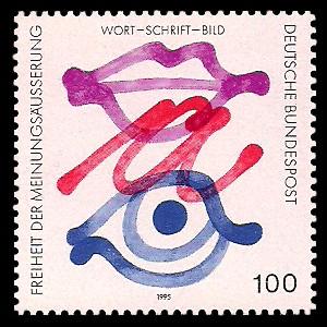 100 Pf Briefmarke: Freiheit der Meinungsäußerung